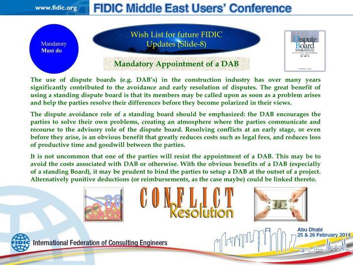 Wish List for future FIDIC Updates (