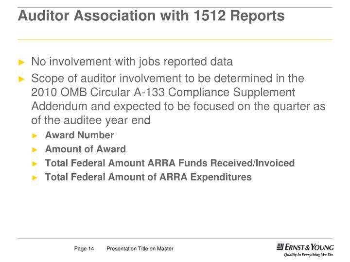 Auditor Association with 1512 Reports