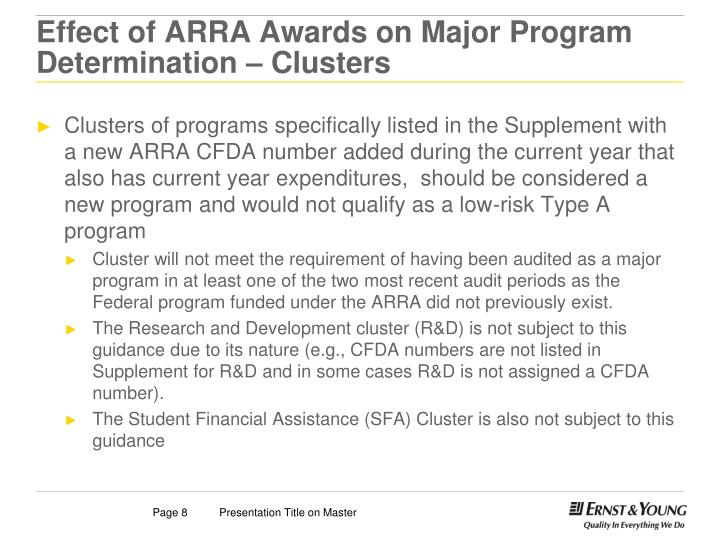 Effect of ARRA Awards on Major Program Determination – Clusters