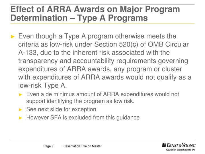 Effect of ARRA Awards on Major Program Determination – Type A Programs