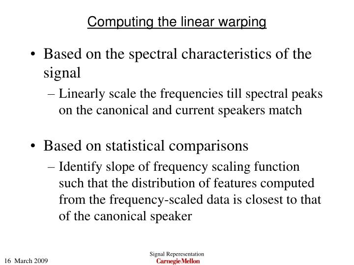 Computing the linear warping
