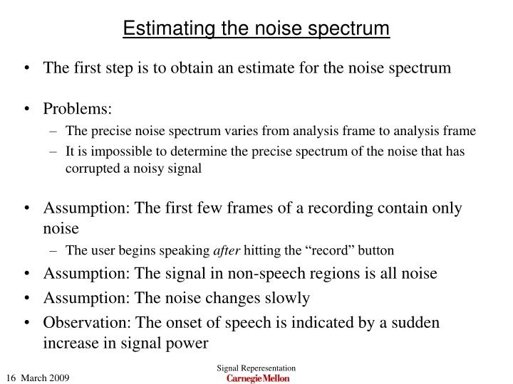 Estimating the noise spectrum