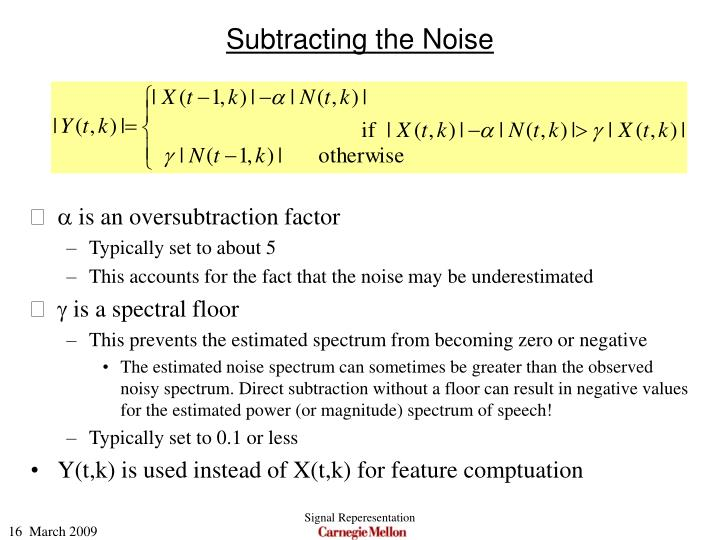 Subtracting the Noise