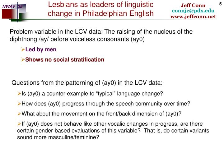 Problem variable in the LCV data: The raising of the nucleus of the diphthong /ay/ before voiceless consonants (ay0)