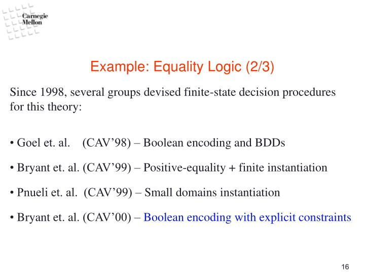 Example: Equality Logic (2/3)