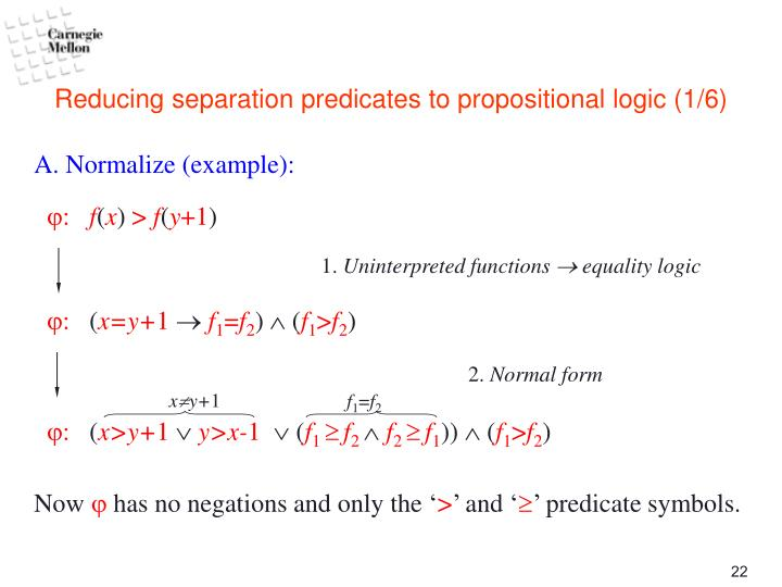 Reducing separation predicates to propositional logic (1/6)