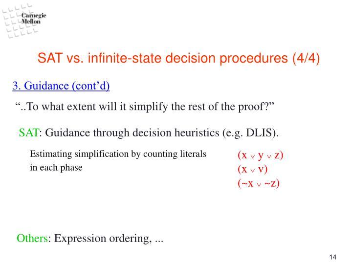 SAT vs. infinite-state decision procedures (4/4)