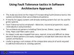 using fault tolerance tactics in software architecture approach