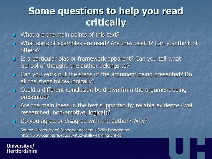 Some questions to help you read critically