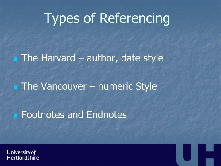 Types of Referencing