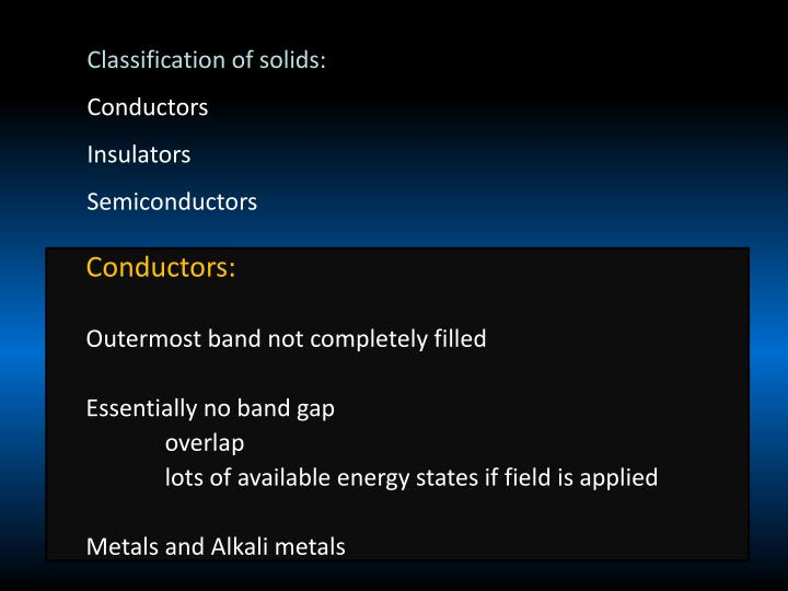 Classification of solids:
