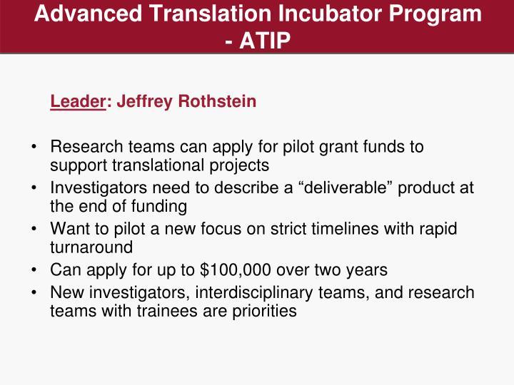 Advanced Translation Incubator Program - ATIP