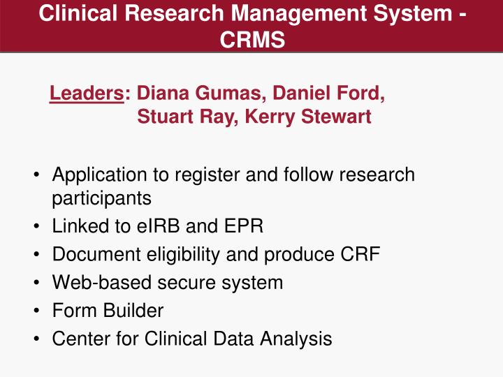 Clinical Research Management System - CRMS