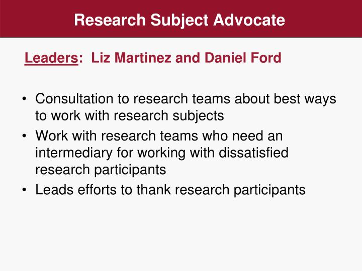 Research Subject Advocate