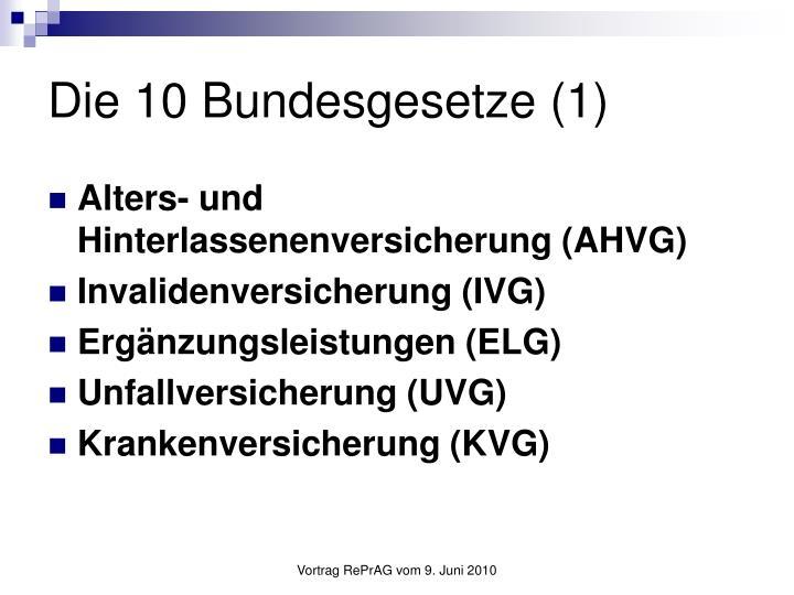 Die 10 Bundesgesetze (1)