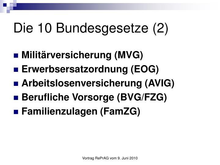 Die 10 Bundesgesetze (2)