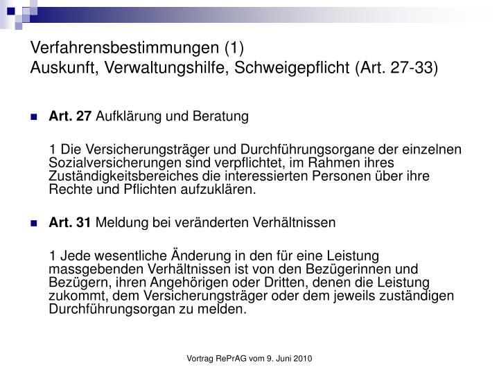 Verfahrensbestimmungen (1)