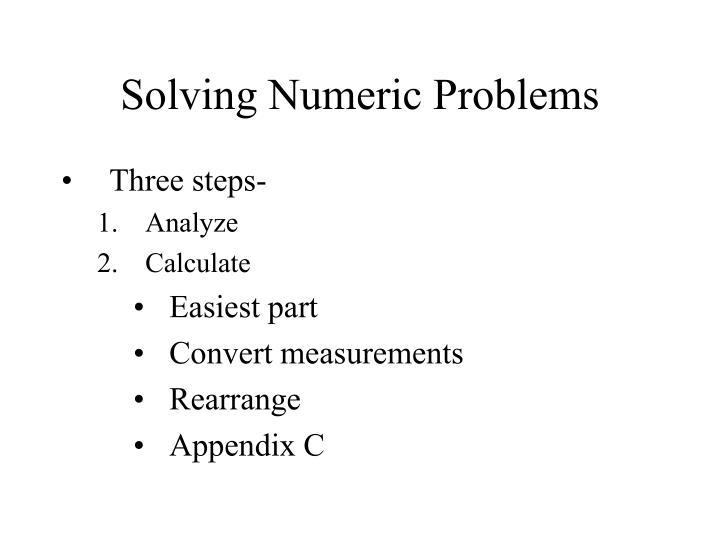 Solving Numeric Problems