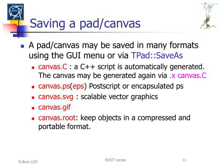 Saving a pad/canvas