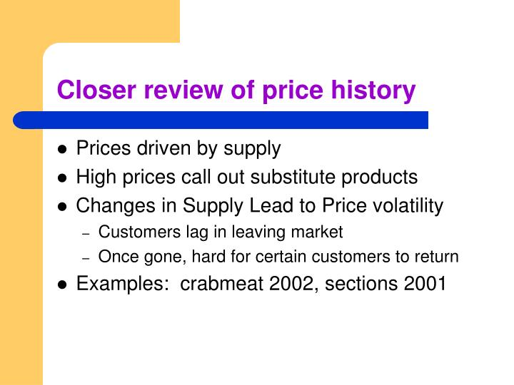 Closer review of price history