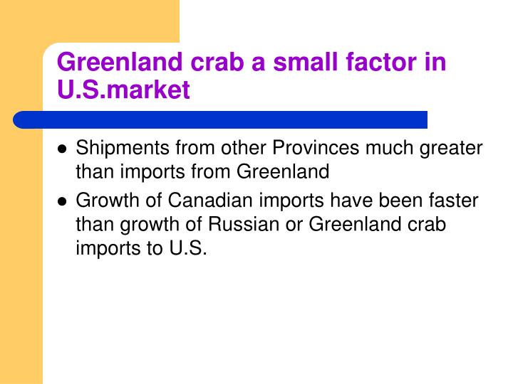 Greenland crab a small factor in U.S.market