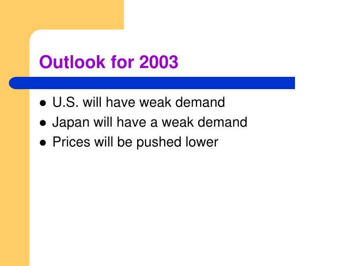 Outlook for 2003