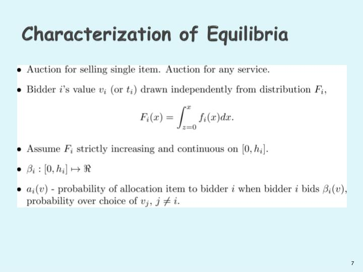 Characterization of Equilibria