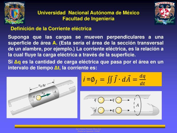 Definición de la Corriente eléctrica