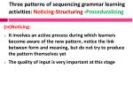 three patterns of sequencing grammar learning activities noticing structuring proceduralizing
