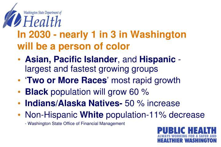 In 2030 - nearly 1 in 3 in Washington