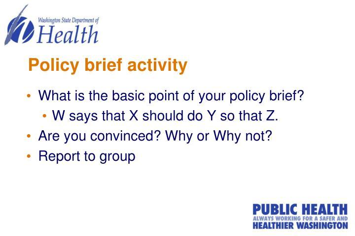 Policy brief activity