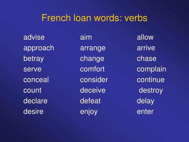 French loan words: verbs