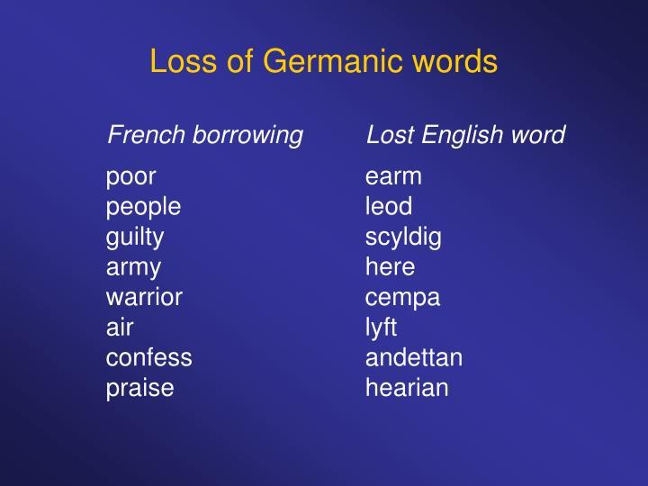 Loss of Germanic words