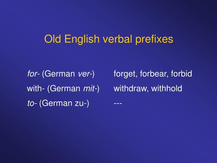 Old English verbal prefixes
