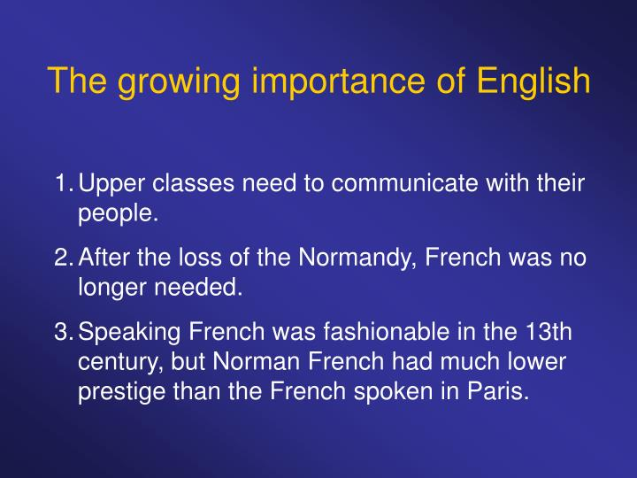The growing importance of English