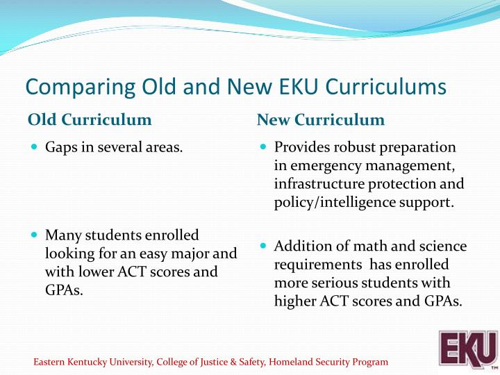 Comparing Old and New EKU Curriculums