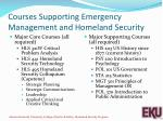 courses supporting emergency management and homeland security
