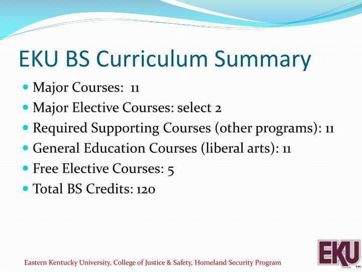 EKU BS Curriculum Summary