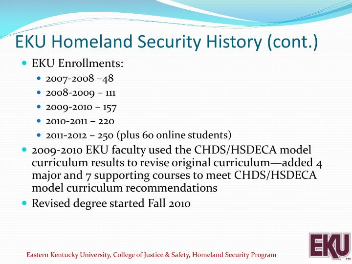 EKU Homeland Security History (cont.)