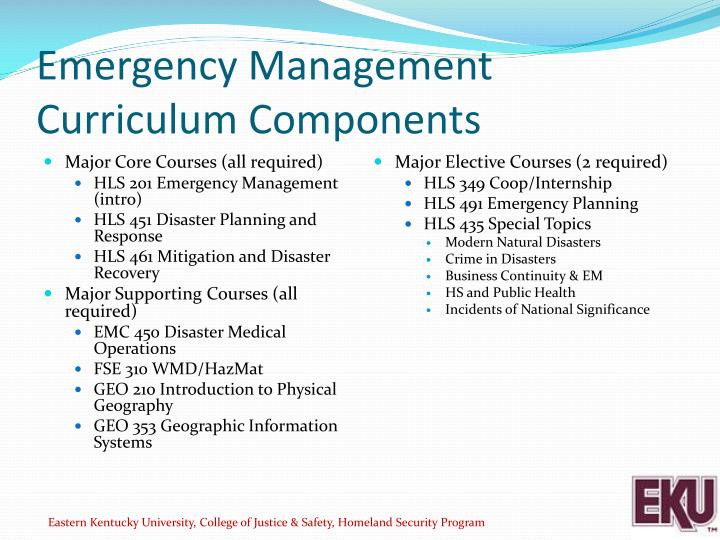 Emergency Management Curriculum Components