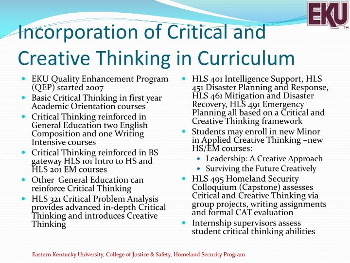 Incorporation of Critical and Creative Thinking in Curriculum