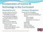 incorporation of science technology in the curriculum
