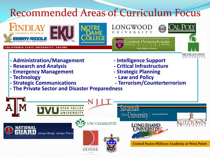 Recommended Areas of Curriculum Focus