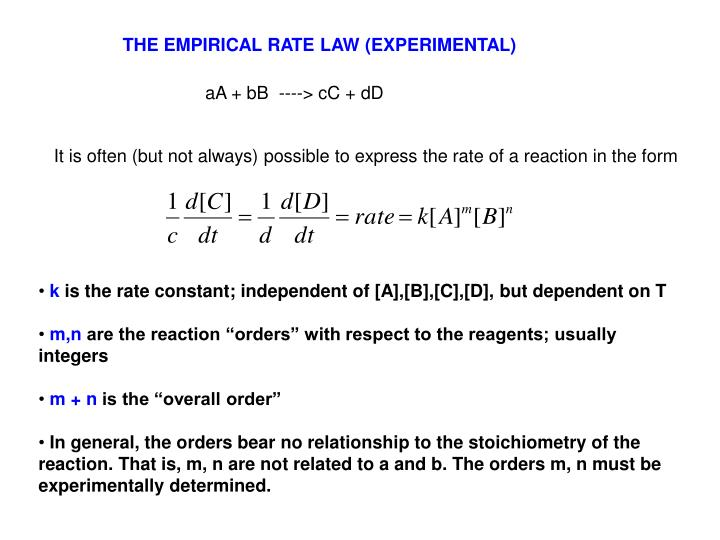 THE EMPIRICAL RATE LAW (EXPERIMENTAL)