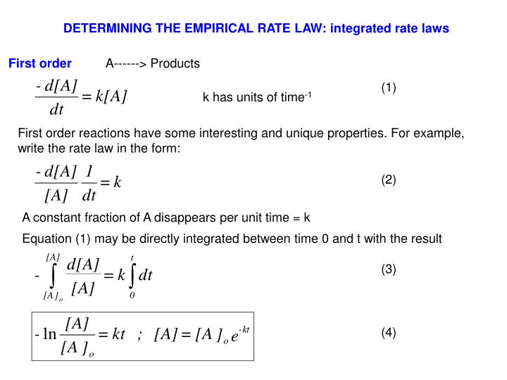 DETERMINING THE EMPIRICAL RATE LAW: integrated rate laws