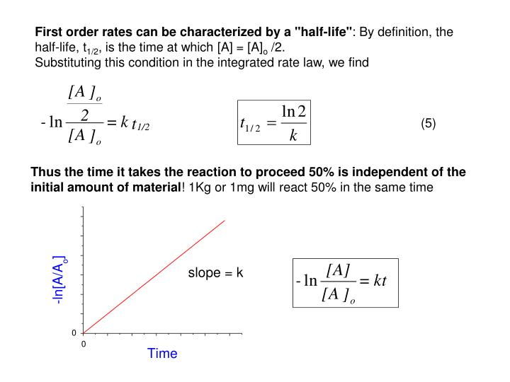 "First order rates can be characterized by a ""half-life"""