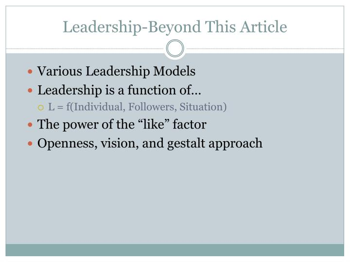 Leadership-Beyond This Article