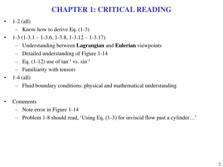 CHAPTER 1: CRITICAL READING