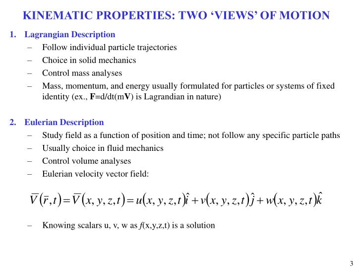 Kinematic properties two views of motion