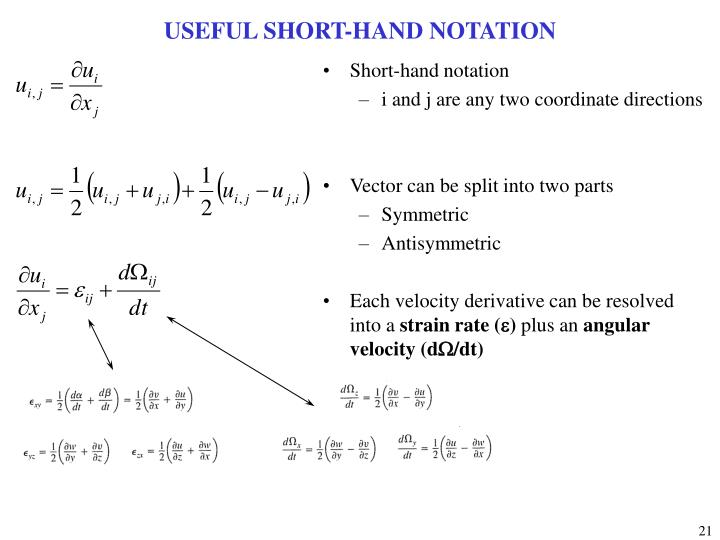 USEFUL SHORT-HAND NOTATION